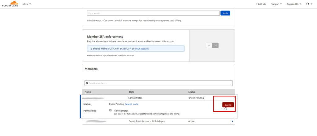 Cancel cloudflare add user invitation.