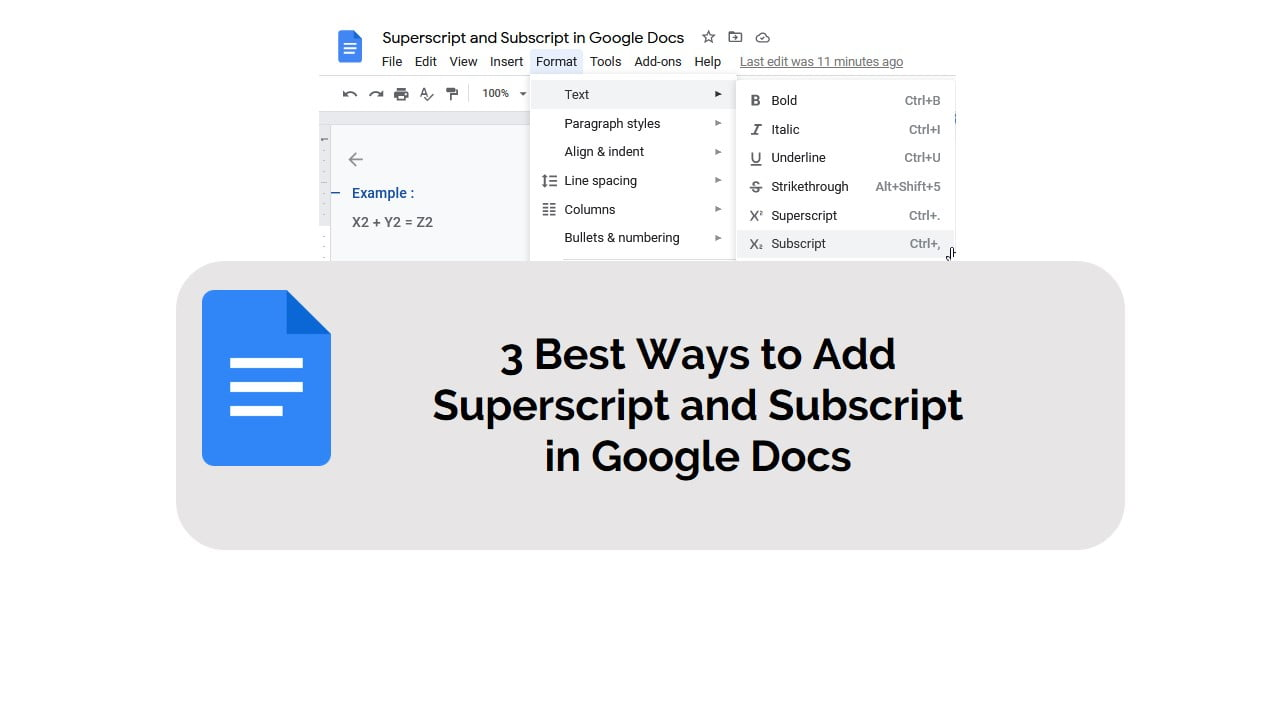 3 Best ways to add superscript and subscript in Google Docs
