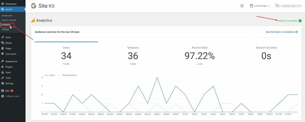 access google analytics inside wordpress admin dashboard