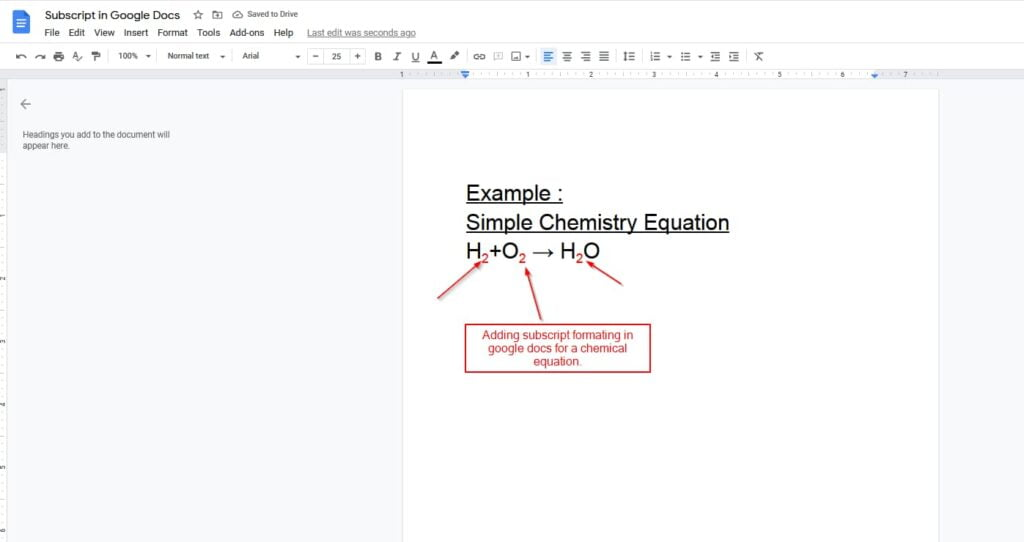 add subscript in google docs using format option