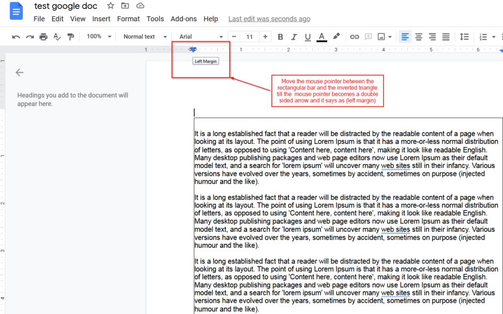 adjust margins with google docs rulers