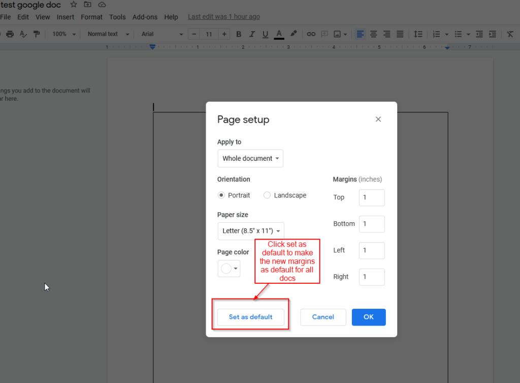 set page margin as default google doc margin