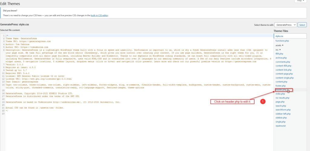 Edit headers.php file using wordpress code editor