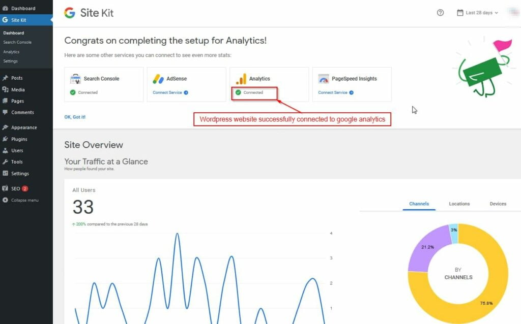 google analytics added to wordpress website using site kit plugin