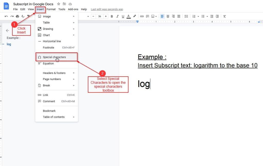 insert subscript using insert option in google docs