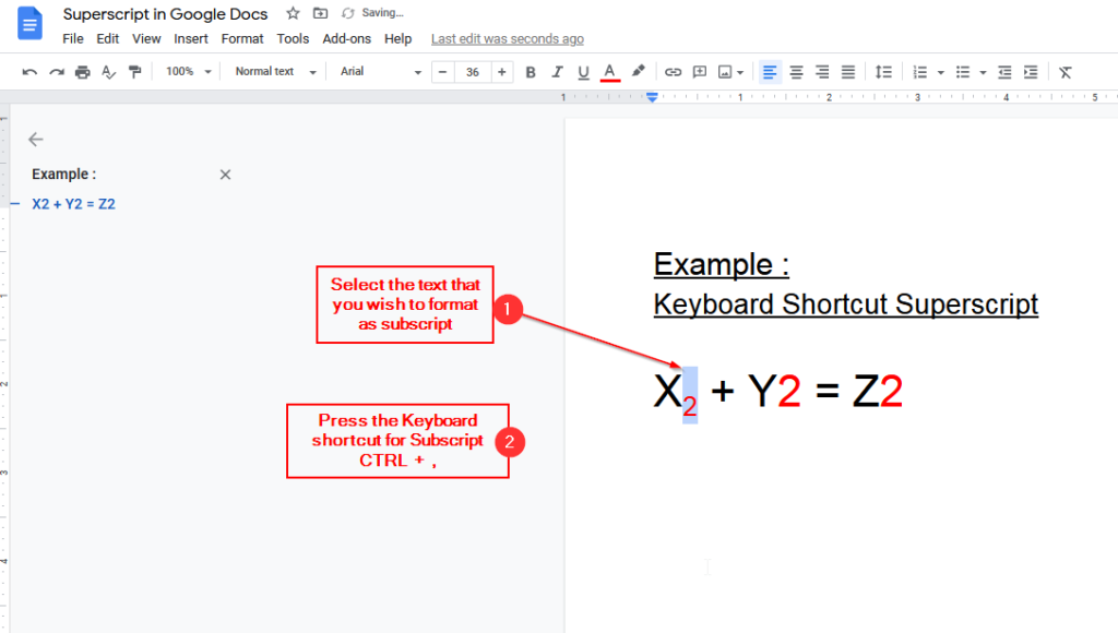 keyboard shortcut for subscript in google docs