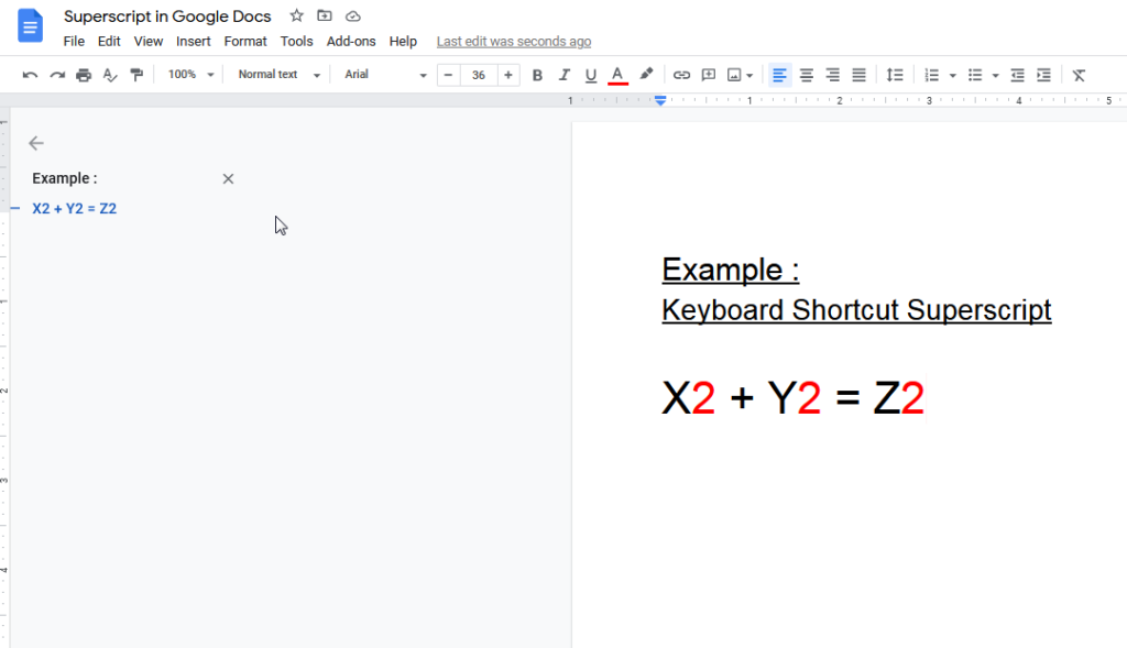 keyboard shortcut superscript google doc