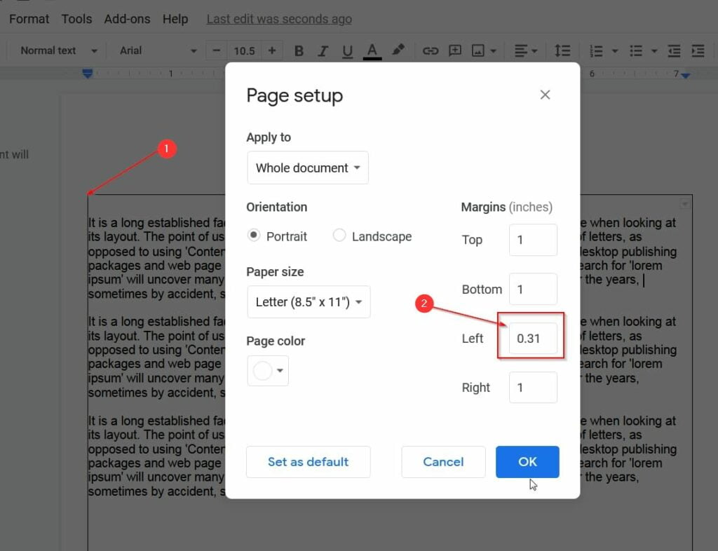 new margins take effect in google docs
