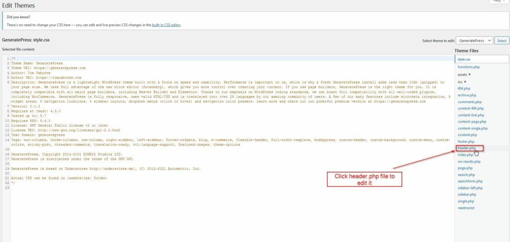edit wordpress header file