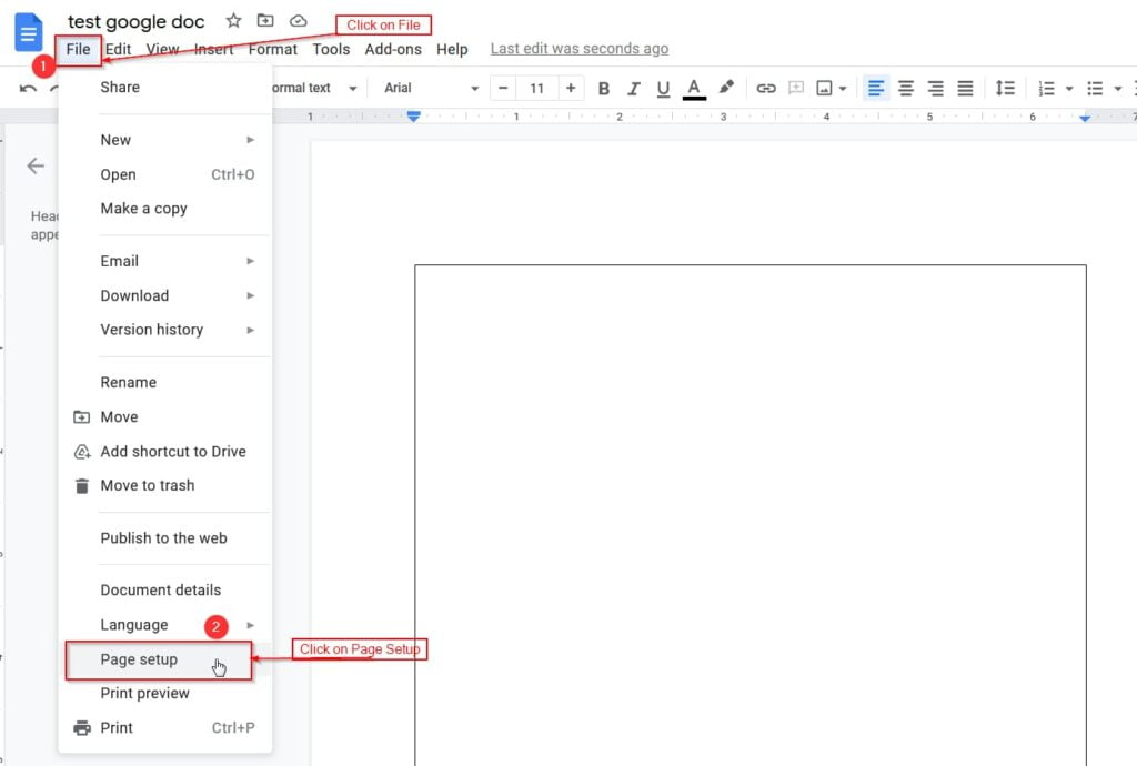 open page setup from google docs file menu