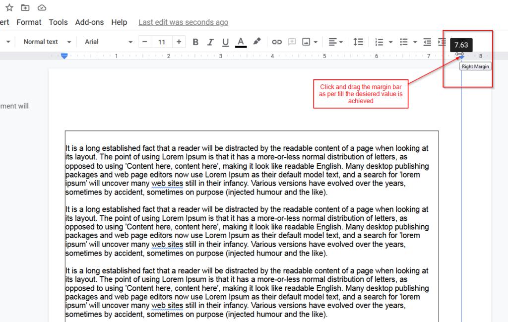 setup right paper margins google docs