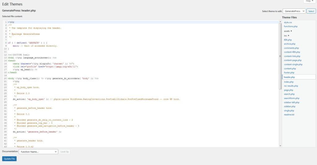 wordpress editor header.php