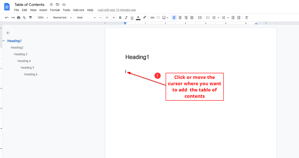 click to add table of content in google docs