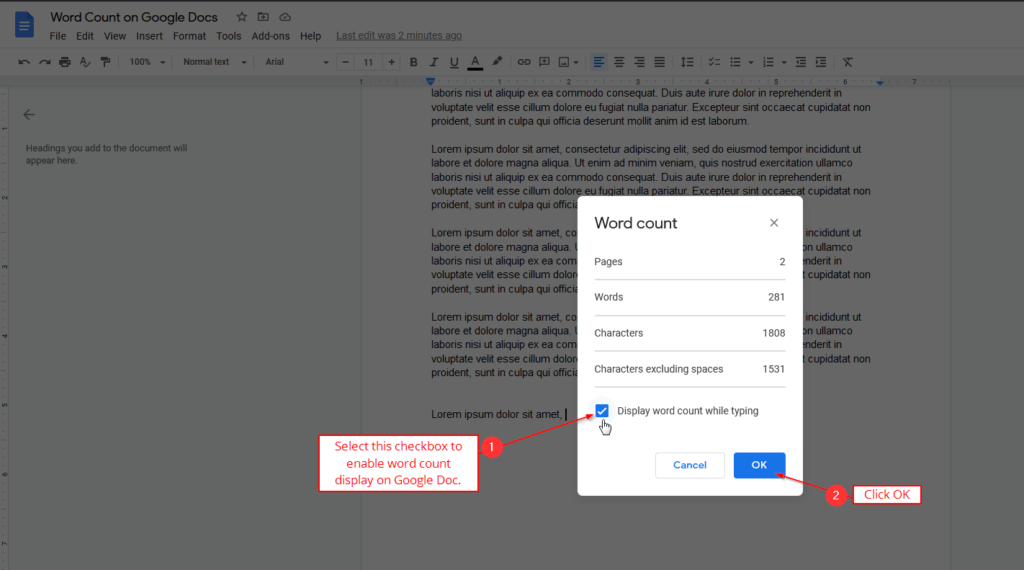 display word count while typing google docs