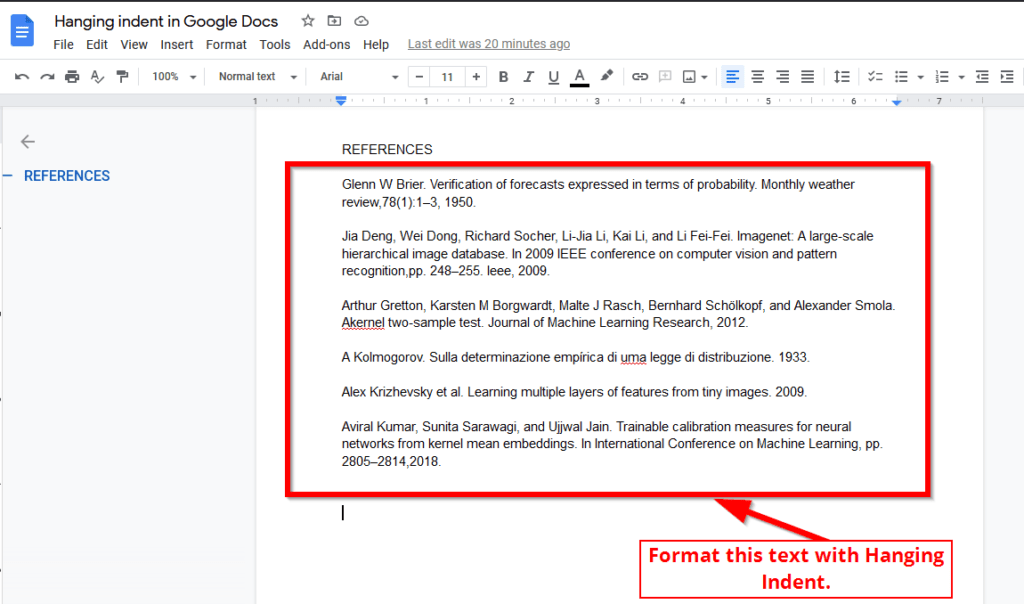 format text with hanging indent in google docs