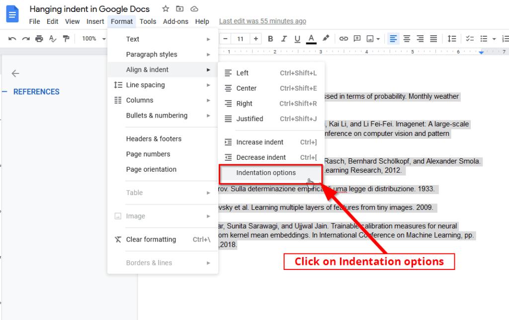 Google docs indentation options for hanging indent