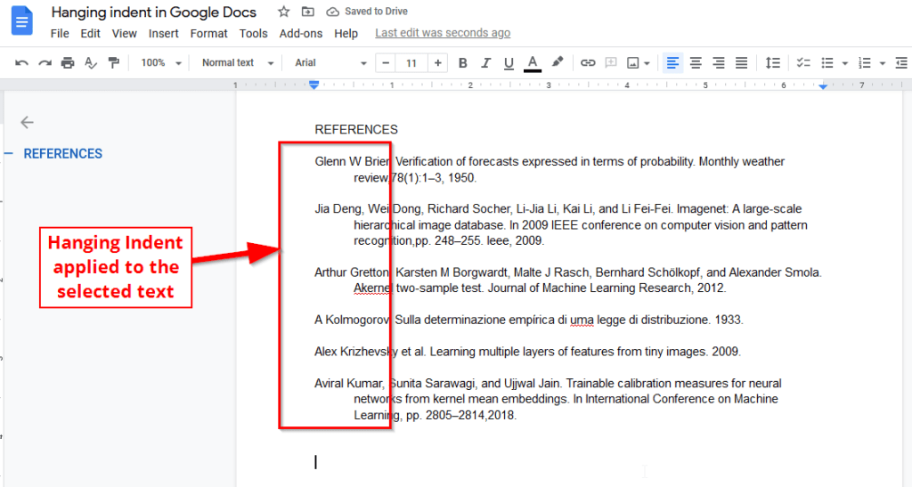Applied hanging indent in google docs