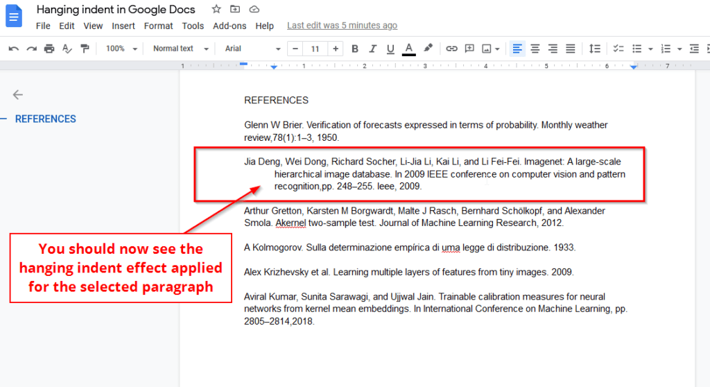 Manual hanging indent effect in Google Docs