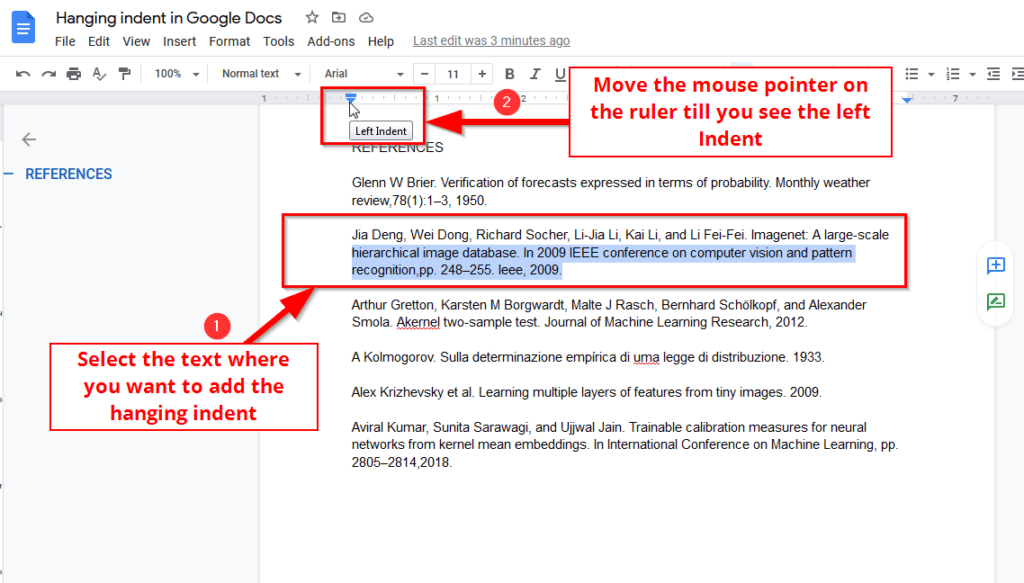 Hanging indent in google docs using ruler and indent controls