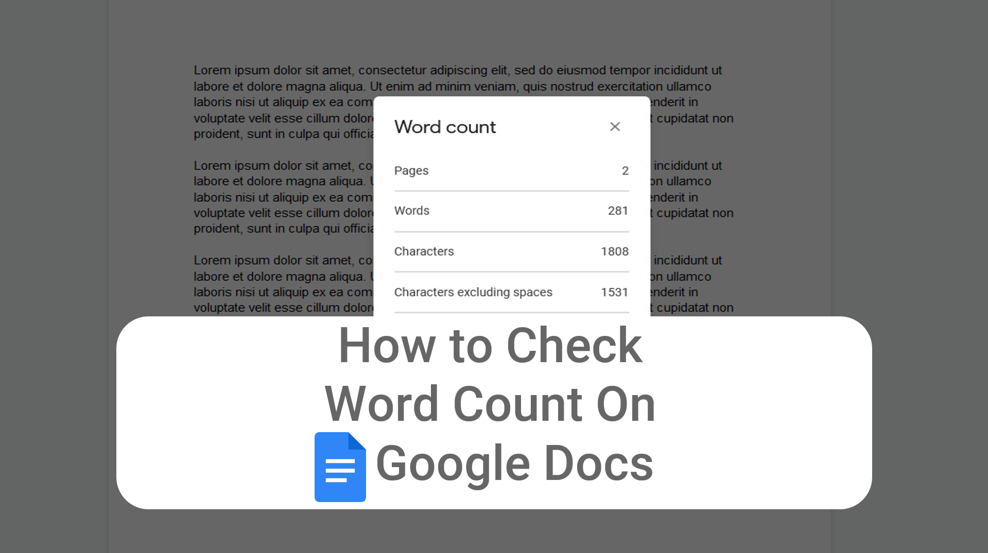 how to check word count on Google docs