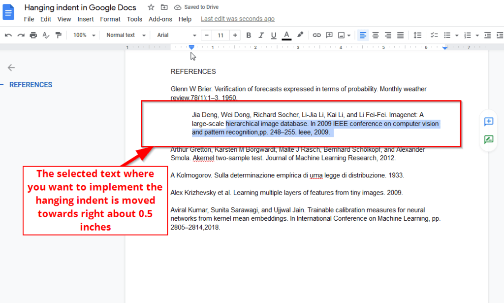selected text moved towards right hanging indent google docs