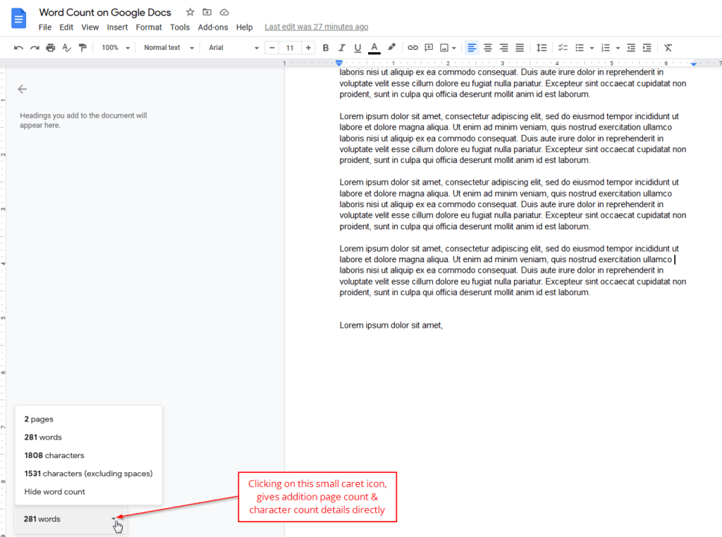 page count character count google docs
