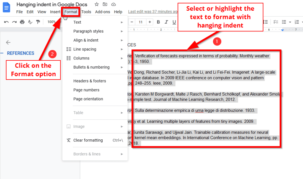 select text and click format for hanging indent in google docs