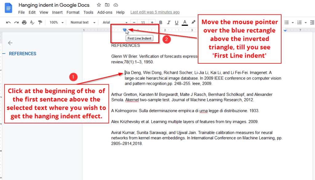 User first line indent from the ruler to create hanging indent