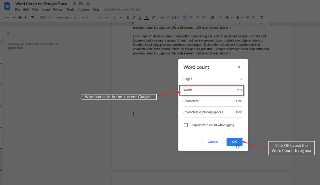 word count dialog box google docs