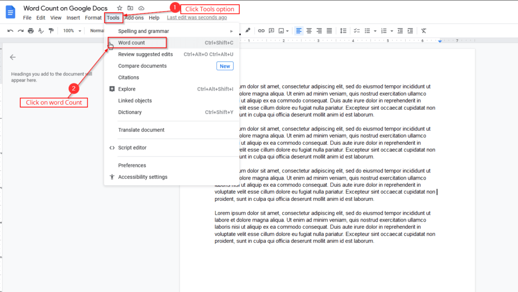 word count on google docs using tools option