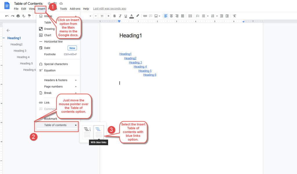 add table of contents in google docs with links