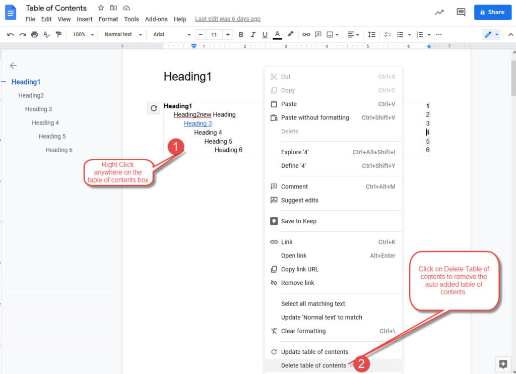 how to delete table of contents in Google Docs